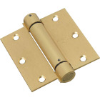 National 3-1/2 In. Square Satin Brass Spring Door Hinge Image 1