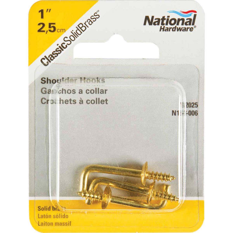 National 1 In. Solid Brass Shoulder Hook (3 Count) Image 2