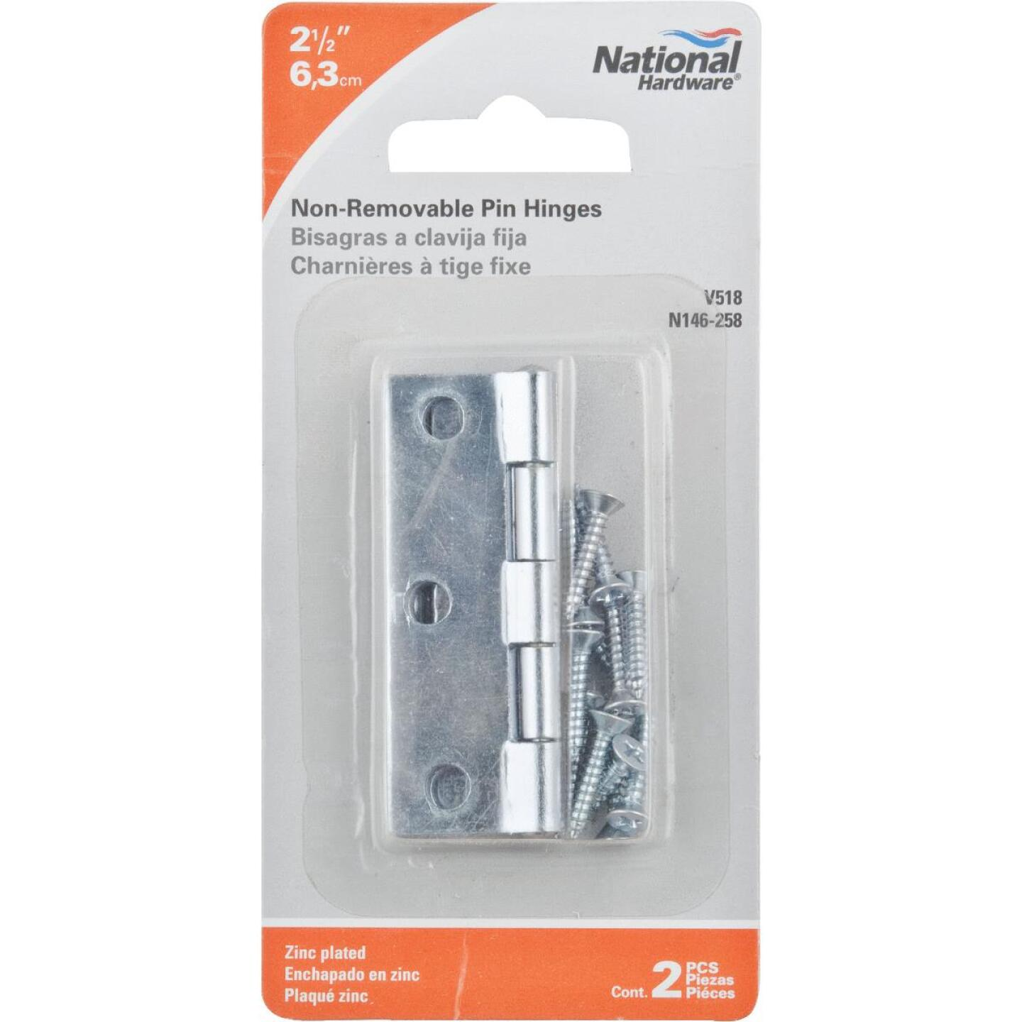 National 2-1/2 In. Zinc Tight-Pin Narrow Hinge (2-Pack) Image 2