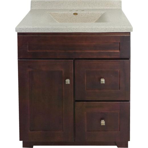 CraftMark CherryVale Shaker Cherry 30 In. W x 34 In. H x 21 In. D Vanity Base, 1 Door/2 Drawer