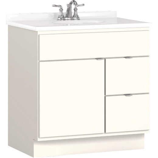 Bertch Riverside 30 In. W x 34-1/2 In. H x 21 In. D White Vanity Base, 2 Door/2 Drawer