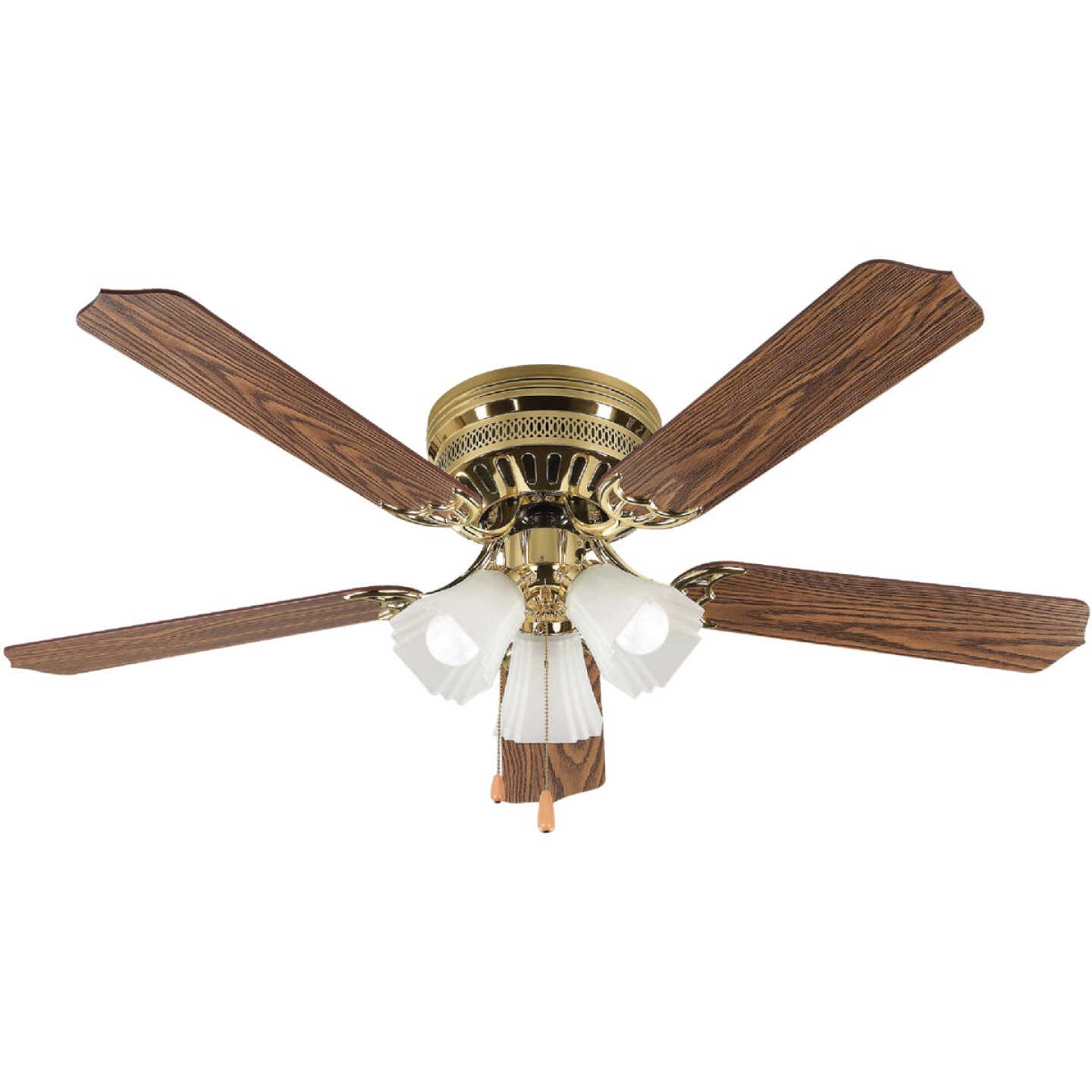 Home Impressions Piedmont 52 In. Polished Brass Ceiling Fan with Light Kit Image 1